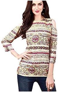 Khwahish - Cream Rayon Printed Cotton Cold Shoulder Top/Tunic/Short Kurti - Bracelet Sleeves (3/4th sleeves)