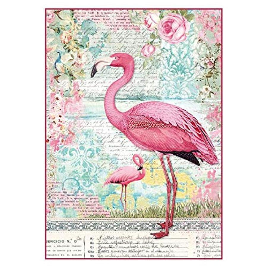 Stamperia Intl DFSA4273 Stamperia Rice Paper Sheet A4 Pink Flamingo Multi