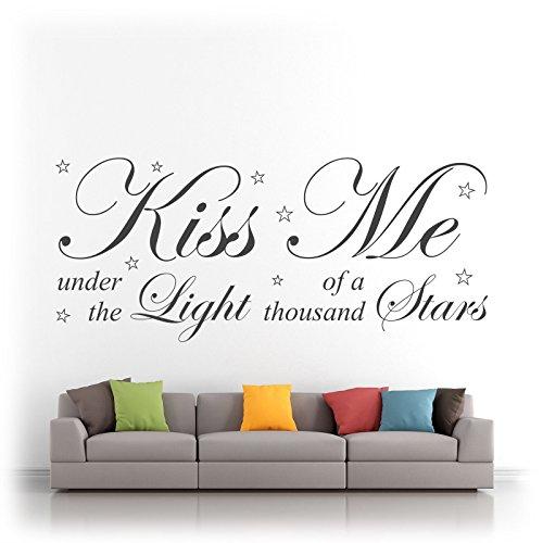 Wandtattoo / Wandaufkleber, Motiv: Ed Sheeran Thinking Out Loud Song Kiss Me Under The Light, aus Vinyl, Silhouette