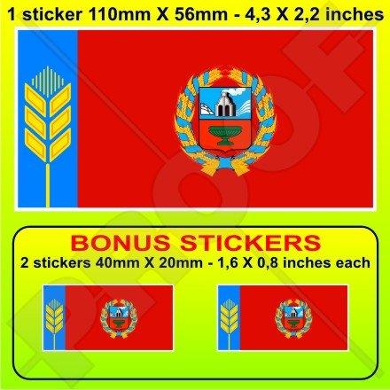 ALTAI KRAI Drapeau Altay Territory RUSSIE, Fédération Russe, 110mm Vinyle Autocollant, x1+2 BONUS Stickers