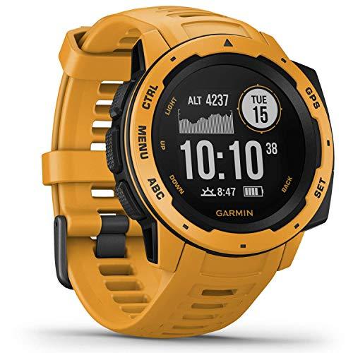 Garmin Instinct – wasserdichte Sport-Smartwatch mit Smartphone Benachrichtigungen und Sport-/Fitnessfunktionen mit GPS, 14 Tage Akkulaufzeit, Gelb