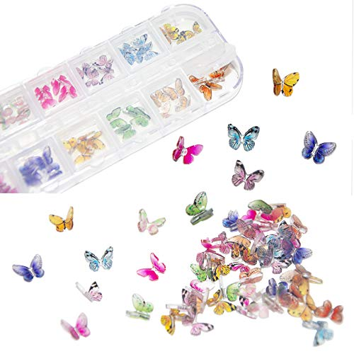 48Pcs Butterfly Acrylic Nails 3D Butterfly Nail Charms Glitter Clear Butterfly Nail Designs 2021 White Blue Colorful Butterfly Acrylic for Nail Art Decoration & DIY Crafting Design