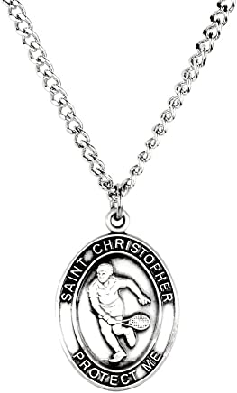 Mens Pewter Saint Christopher Sports Athlete Medal, 1 Inch