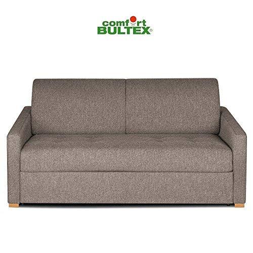 INSIDE Canapé Convertible Express Dandy Matelas 140cm Comfort BULTEX® Mono Assise capitonnée Velours Taupe