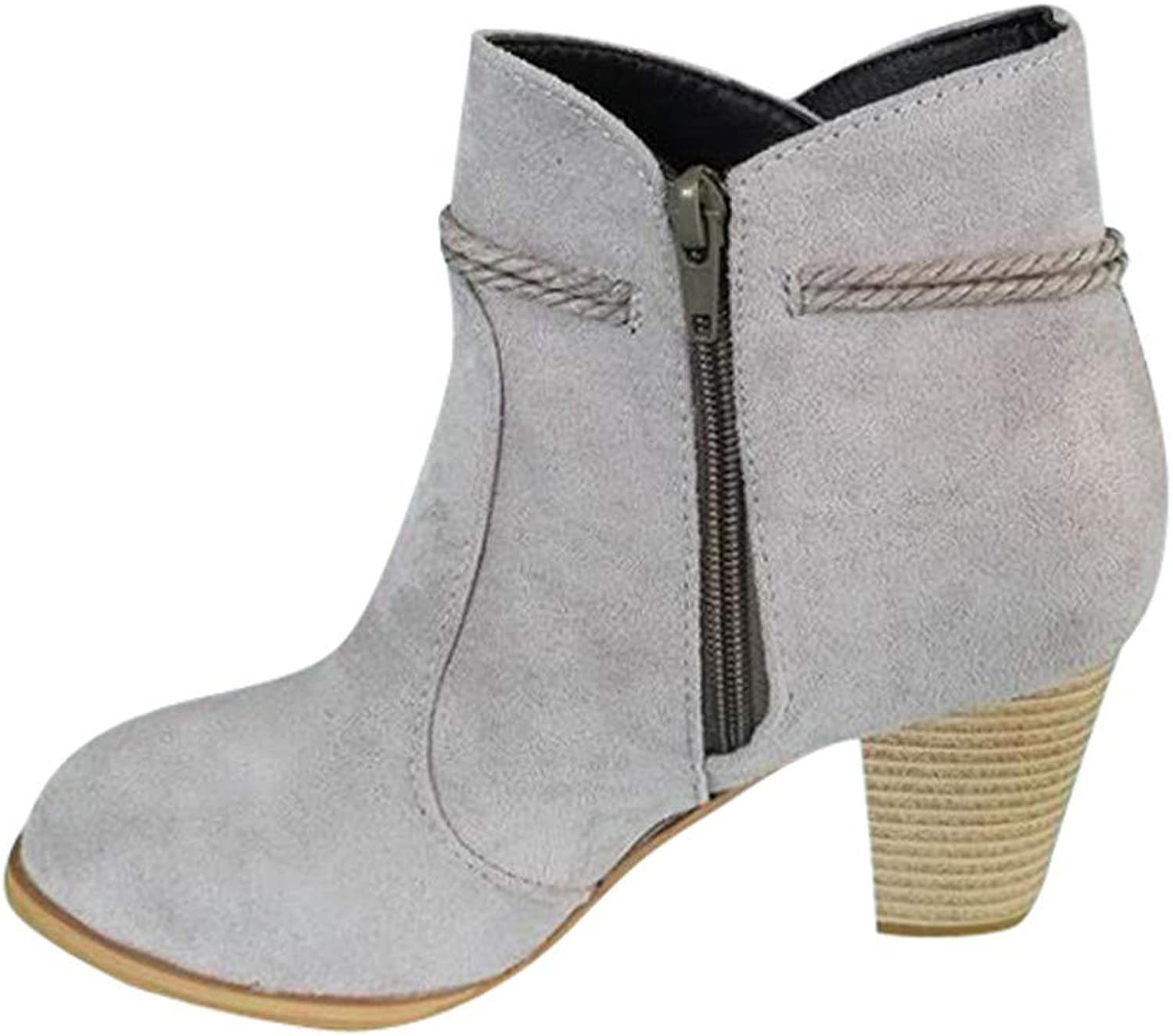 LIKESIDE Fashion Women Round Toe High Thick Ankle Boots Side Zipper Tassel Ankle Boots