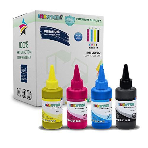 INKUTEN True Color Sublimation 664 / T664 Ink Bottle 4PK: T664120 Black T664220 Cyan T664320 Magenta T664420 Yellow for Expression ET-2500 ET-2550 ET-2600 ET-2650 Workforce ET-16500 ET-4500