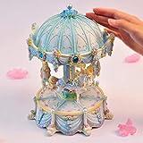 ETHAN Grande boîte à Musique créative Grand carrousel de Levage Automatique avec boîtes lumière Clignotante pour Princess Love Girl Valentine 's Day Blue