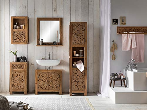 Woodkings® Badmöbel Set Katha Holz Akazie massiv Bad Set rustikal Badezimmerset Badschrank Baumscheibe Design