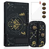 Pickeico Dockable Case for Nintendo Switch, Switch Protective Case for Joy-Con Controllers with 4 Thumb Grips and Glass Screen Protector(The Legend of Zelda)