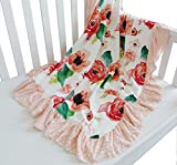 Sahaler Floral Minky Blanket Baby Girl Dot Ruffle Blankets Infants Toddlers Girl's Soft Throw Comfortable, (Coral)