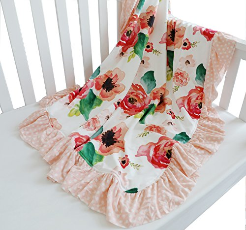 Sahaler Floral Minky Blanket Baby Girl Dot Ruffle Blankets Infants Toddlers Girls Soft Throw Comfortable, (Coral)