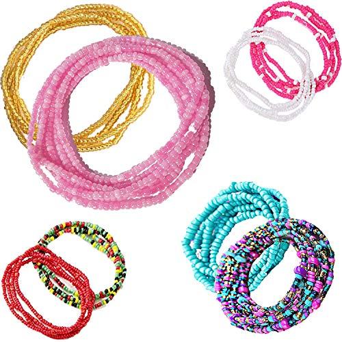 Tuoshei 8 Piece Summer Jewelry Waist Bead Set, Colorful Waist Bead, Belly Bead, African Waist Bead, Body Chain, Beaded Belly Chain, Bikini Jewelry for Woman Girl (Style 6)