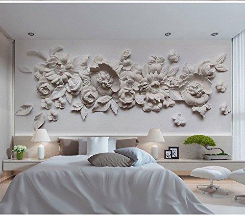 Wh-Porp 3D Große Wandbild Gips Relief Blume 3D Tapete Wandbild 3D Foto Wandbild Tapete Für Schlafzimmer Sofa Hintergrund Wandverkleidung-250Cmx175Cm