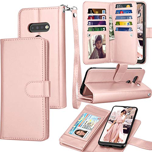 Tekcoo LG K51 Case, 2020 LG Q51 / LG Reflect / K51 Wallet Case, Luxury PU Leather ID Cash Credit Card Slots Holder Carrying Pouch Folio Flip Cover [Detachable Magnetic Hard Cases] Lanyard - Rose Gold