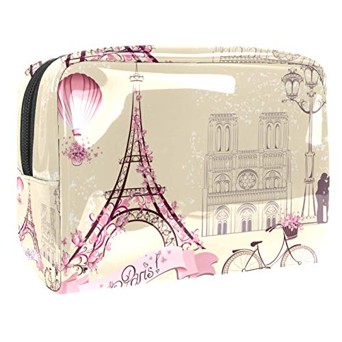 Portable Makeup Bag with Zipper Travel Toiletry Bag for Women Handy Storage Cosmetic Pouch Vintage Retro Paris Eiffel Tower Bicycle