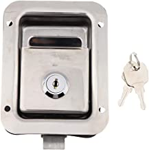 Perfk Stainless Door Lock Trailer Toolbox RV Handle Latch 4.65x3.62inch Paddle Key
