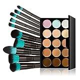 Chinatera 15 Colors Contour Face Cream Makeup Concealer Palette with 10pcs Makeup Brushes (Black+Blue)