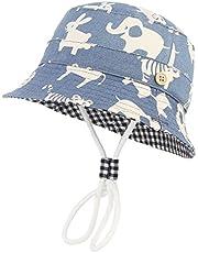 GEMVIE-Cappello da Pescatore Blu Bambini 3 Mesi- 8 Anni Stampa Modello Animali Azzurro Cappello da Sole Anti-UV Pieghevole in Cotone Berretto Cappelli da Esterno