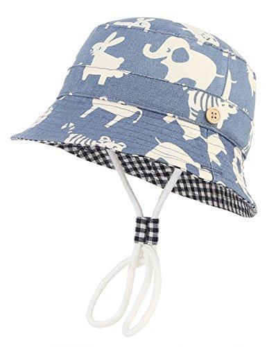 GEMVIE-Cappello da Pescatore Blu Bambini 3 Mesi- 8 Anni Stampa Modello Animali Azzurro Cappello da Sole Anti-UV Pieghevole in Cotone Berretto Cappelli da Esterno (Circonferenza della Testa 47-49 cm)