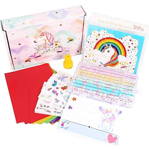 HIFOT Einhorn Briefpapier Schreibwaren Mappe mit Blättern, Karten, Umschlägen, Farbstift, Aufkleber, Kindergeburtstagsgeschenk, Einladungskarten Weihnachtsgeschenke Mädchen Activity karten