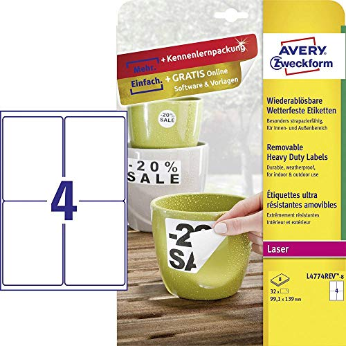 Avery Zweckform L4774REV-20de 8exterior de pantalla etiquetas (A4, 32etiquetas, resistente a la intemperie, despegable, 99,1x 139mm) 8hojas, color blanco