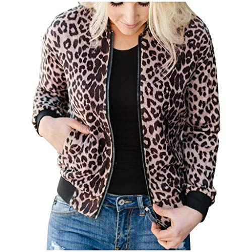 777 Women's Leopard Pockets Zipper Coat Girls Fashion Stand-up Collar Long-Sleeved Tops Coat Brown