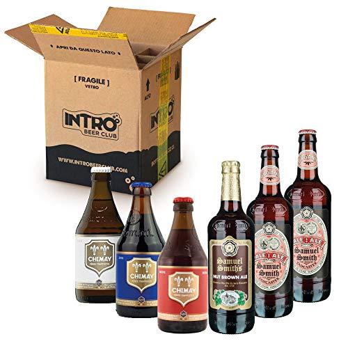 INTRO BEER CLUB Box Degustazione Birre Artigianali - Selezione di Birre dal Mondo'Belgio vs Inghilterra' - Kit con 6 Bottiglie da 33cl - Confezione Idea Regalo Uomo
