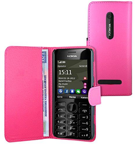 FoneExpert® Wallet Hülle Flip Cover Hüllen Etui Ledertasche Lederhülle Premium Schutzhülle für Nokia Asha 206 / Nokia Asha 206 Dual-SIM (Wallet Rosa)