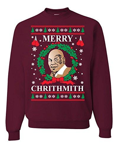 Wild Bobby Merry Chrithmith Mike Tyson Ugly Christmas Sweater Unisex Crewneck Sweatshirt, Maroon, X-Large