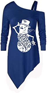 Womens Fashion Off Shoulder Sweatshirt Funny Ugly Christmas Pullover Blouse Snowman Printed Tunic Tops