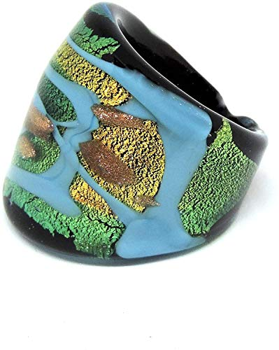 Murano Glass Ring for Women Turquoise Band with Green Leaf 24Kt Gold Very Comfortable Lightweight and for Frequent Use. Authentic Murano Ring with Gift Box (12) red