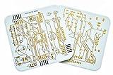 Untersetzer in Platinen Design 2er Set Weiß goldene Kontakte für Gläser und Tassen Bürozubehör Computer Geeky Geschenk Kaffe Tee Tisch PCB Nerd Technik Home Bar Accessory