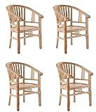 SAM 4er Set Teak-Holz Massiv Gartensessel Moreno, Stuhl mit Armlehnen, für Balkon, Terrasse