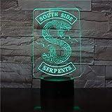 Luces de noche LED Insignias 3D Logotipo de serpiente de Riverdale Luz de noche Serpientes de Southside Led Decoracin Signo Cosas Accesorios de Riverdale Mesa de regalo Lmpara de dormitorio