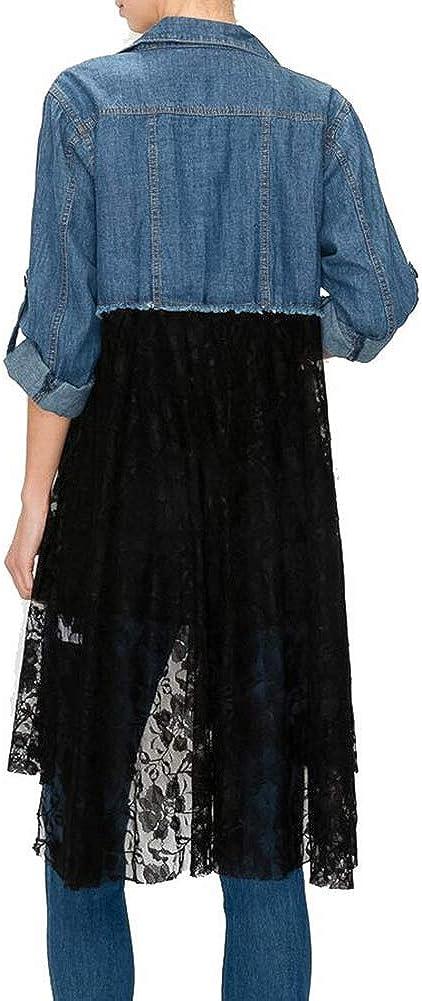 Women's Denim Blue and Black Lace Duster Jacket