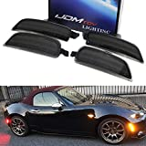 iJDMTOY Smoked Lens Amber/Red Full LED Side Marker Light Kit Compatible With 2016-up Mazda MX-5 Miata, Powered by Total 98-SMD LED, Replace OEM Sidemarker Lamps
