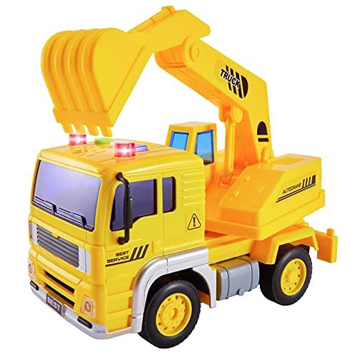 HERSITY Camiones Excavadora de Juguetes Coches de Friccion Vehículos de Construcción Juguetes con Luces y Sonidos Regalos para Niños 3 4 5 Años