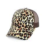 WAZHX Gorra De Béisbol con Abertura En La Espalda Europea Y Americana Estampado De Animales Leopard Mesh Pony Hat Sun Hat Ladies Sun Hat Classic Leopard