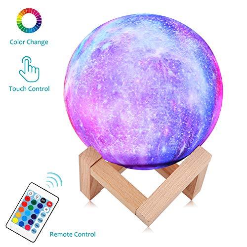 3D maanlamp, lichtsterkte, dimbaar, maanlicht, 16 RGB-kleuren, USB-oplaadbare afstandsbediening & touch-bediening, bedlampje, damesgeschenk, nachtlampje voor kinderkamer, 15 cm