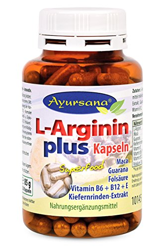 L-Arginin Kapseln plus (120 Stück) mit Kiefernrinde, Guarana, Folsäure und Vitamin E, B6 und B12 | Immunstärkend und schützt vor oxidativem Stress | Apothekenqualität