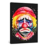 Sad Clown Vintage Poster Picture Prints Canvas Room Decor for Bedroom Gifts for her Frame-style7 08×12inch(20×30cm)