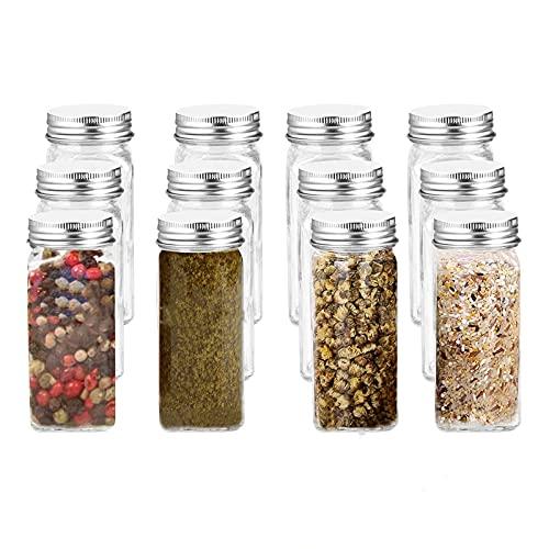 Juego de 12 tarros para especias de cristal de 100 ml, para cocina, rectangulares, para especias, con etiquetas de especias, para coctelera y embudo ancho de 100 ml