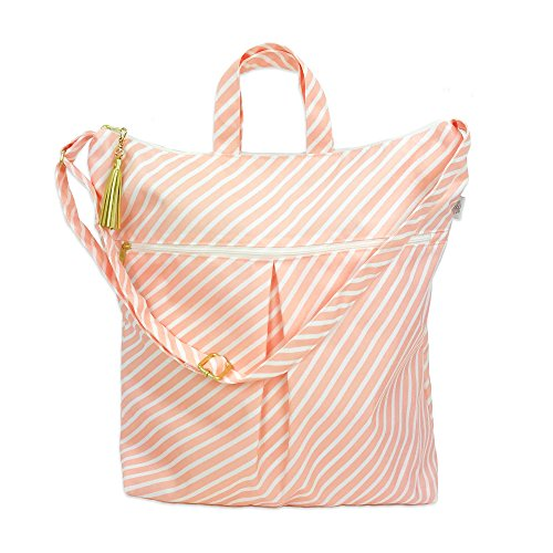 Waterproof Simple Tote - Waterproof Diaper Bag with Dry Pocket, Cloth Diaper Wet Dry Bag, Large Hanging Bag - Swimsuits + Travel, Diapering + Feeding On-The-Go - Made in USA (Blush Stripe)