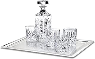 James Scott 6-Piece Decanter Set - Lead Free Crystal Whiskey Decanter with Stopper, 5 Exquisite Old Fashioned Drinking Glasses and Stainless Steel Tray | Gift Box
