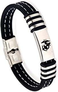 LiFashion LF Men's Stainless Steel Silicone US Marine Bracelet,Armed Forces Marine Corps Gifts Cuff Bracelets Jewelry for Boyfriend,Husband,Son