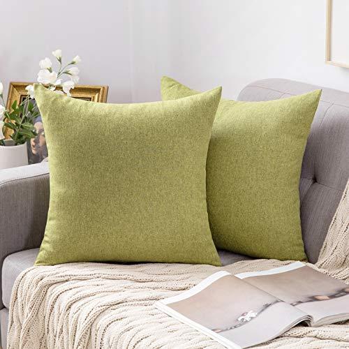 MIULEE 2er Pack Home Dekorative Kissenbezug leinenkissen Kopfkissenbezug Leinen Kiessehülle sofakissen für Sofa Schlafzimmer mit Reißverschlüsse Kissenbezüge 40x40 cm Grün