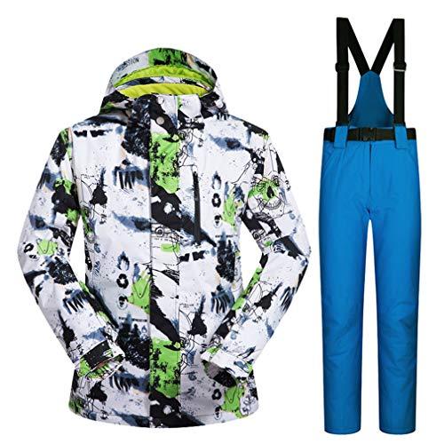 TZTED Ensemble de Pantalon et Veste de Ski imperméable, pour Hommes, pour l'extérieur pour Hommes Idéal pour Ski et Snowboard,Bleu,XXXL