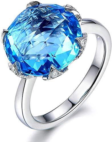 necklace Ladies fashion Fashion jewelry elegant design London Blue Topaz gemstone diamond solid 14K white gold engagement ring Promise wedding suit, ring size: P 1/2 Hoisting (Size : 55 * 17.5mm)