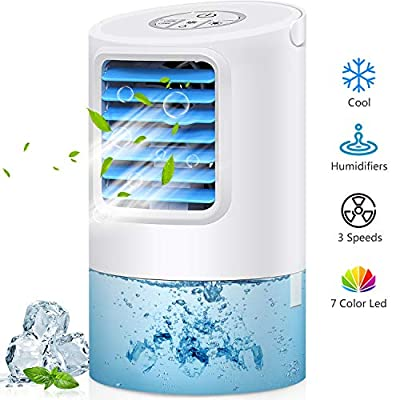 GREATSSLY Air Conditioner Fan, Portable Air cooler, Small Desktop Fan 3 Degree Changeable Angle Adjustable Compact Super Quiet Personal Table Fan Mini Evaporative Air Circulator Cooler