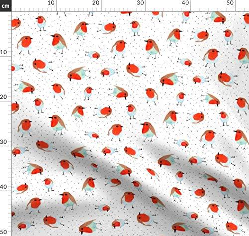 Rot, Rotkehlchen, Wasserfarben, Tier, Natur Stoffe - Individuell Bedruckt von Spoonflower - Design von Brokkoletti Gedruckt auf Baumwollstoff Klassik